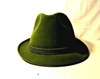 Chapeau Fedora, chapeau Fedora vert de chasseur, chapeau Mayser Milz, 1980 ' s Fedora taille 7 1/2