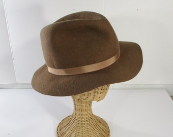 Wool Hat, Country Gentleman's Fedora, Brown Wool Hat Made In England, Size 7 1/8