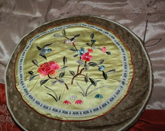 vintage appliqued pillow bird on flowers  silky