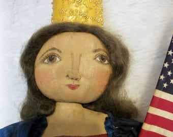 PATTERN, Primitive doll, Americana folk art original, handmade by Dumplinragamuffin,#210
