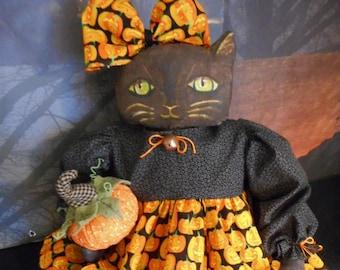 PATTERN,Primitive Halloween doll, Kitty with pumpkin by Dumplinragamuffin, #218