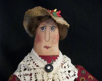 Lady gardening doll, hand made fabric, free standing, one of a kind by Dumplinragamuffin