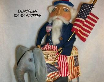 PATTERN, Americana Uncle Sam doll riding an elephant  Dumplinragamuffin, #98