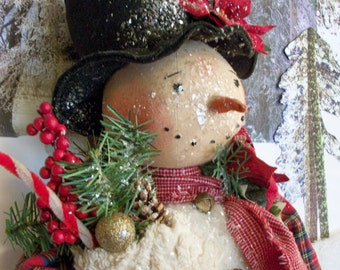 PATTERN for Primitive snowman doll~27 inches tall~Christmas & Winter display~by Dumplinragamuffin #145