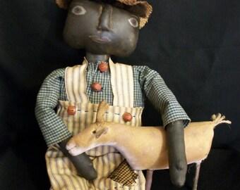 PATTERN,Primitive folk art black doll with pet goat, original by Dumplinragamuffin, #188