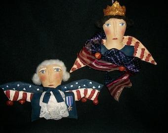 PATTERN,Primitive doll  Americana ornaments,  Orignal design by Dumplinragamuffin,#94