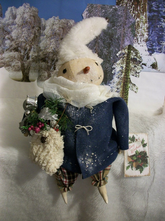 Primitive Let it Snow Snowman Winter Doll Paper Pattern #197