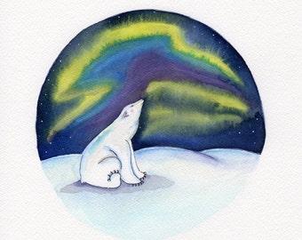 SALE!!! Aurora Borealis with Polar Bear