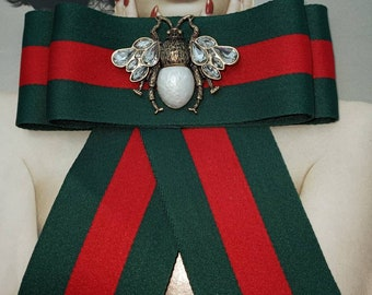 Wide Inspired Designer Ribbon Bow Brooch with Bee Pearl Crystal Accents Green Red Stripe