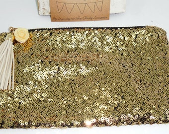 Champagne Gold Sequin Clutch Purse~ Toiletry Bag Makeup Brush Cosmetic Holder ~ w/ Tassel & Resin Rose Accent