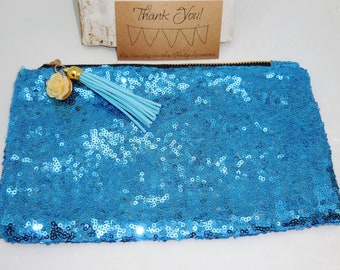 Turquoise Aqua Blue Sequin Clutch Purse~ Toiletry Bag Makeup Brush Cosmetic Holder ~ w/ Tassel & Resin Rose Accent