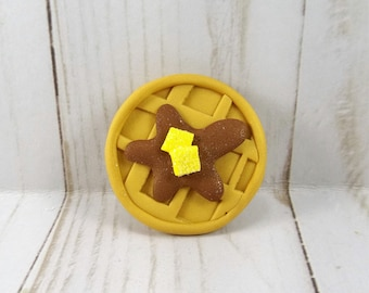 Waffle Hair Bow Center - Polymer Clay Bow Center - Waffle with Syrup and Butter -41417