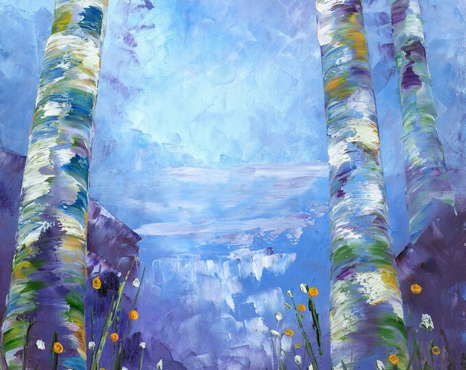 Aspen Refresh art print on canvas by RAETTE, various size prints available, trees, blue, purple