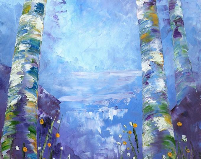Aspen Refresh art print on canvas by RAETTE, various size prints available, trees, blue, purple