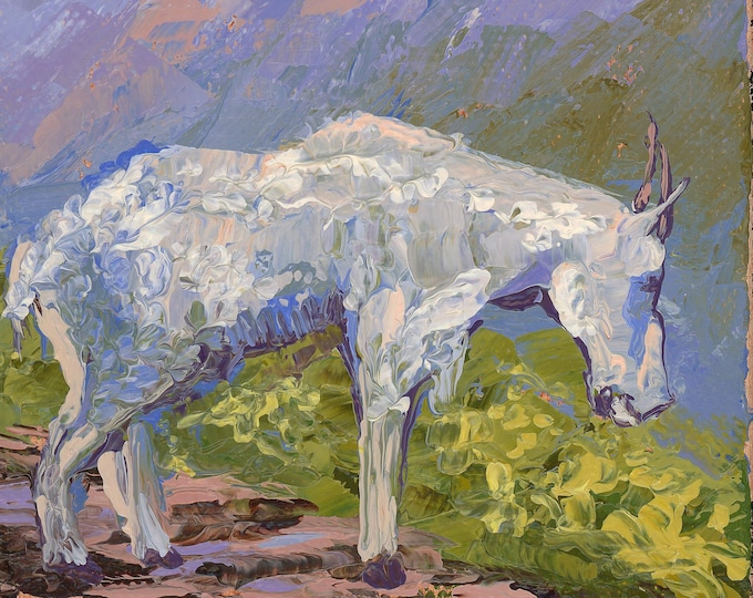 """Mountain Goat at Logan Pass - palette knife oil painting on 4""""x6"""", 3/4"""" thick canvas by RAETTE"""