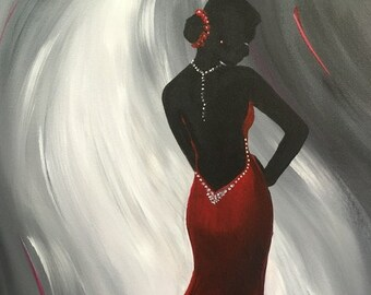 "The Red Dress, elegant, silhouette woman, white, black, gray, red, original acrylic painting by RAEME 16""x20"" canvas"