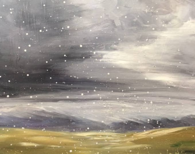 """Stormy Skies #2/365  original abstract painting on 16""""x20"""" canvas landscape, big skies over fields, Montana by Raette"""
