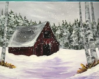 "Winter Barn, western scene, birch trees, snow, evergreens original acrylic painting by RAEME 16""x20"" canvas"