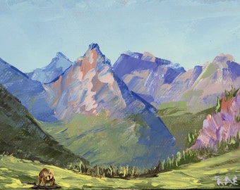 """Bear on Highline Trail - palette knife oil painting on 4""""x6"""", 3/4"""" thick canvas by RAETTE"""