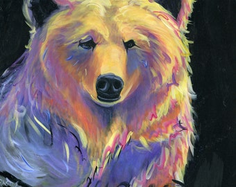 "Bear, 16""x20"" print on canvas or original painting"