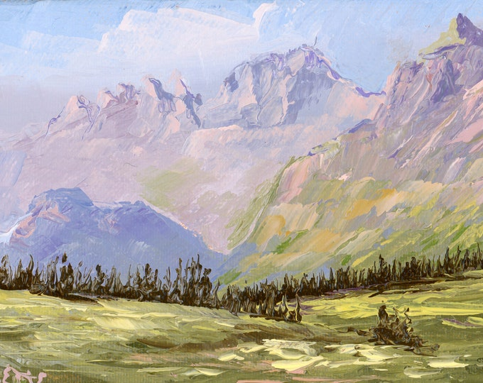 """Garden Wall from Logan Pass - palette knife oil painting on 4""""x6"""", 3/4"""" thick canvas by RAETTE"""