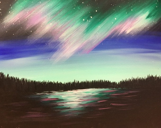 "Northern Lights, NW Montana, lake, trees original acrylic painting by RAEME 16""x20"" canvas"