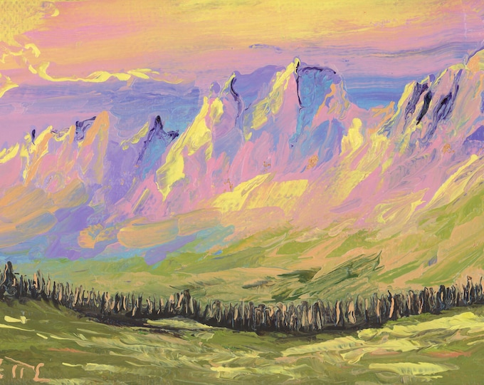 "Garden Wall from Logan Pass (5) - palette knife oil painting on 4""x6"", 3/4"" thick canvas Glacier National Park"