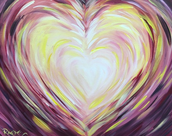 "Heart - Fun, abstract heart, love, family original acrylic painting by RAEME 16""x20"" canvas"