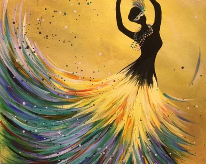 "Spring Dancer, mardi gras version, colorful original acrylic painting by RAEME 16""x20"" canvas"