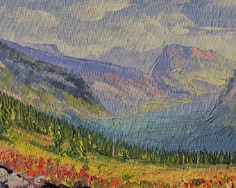 View from Jackson Meadows, 4x6 original palette knife oil painting, Montana artist Raette