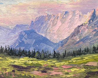 Garden Wall from Logan Pass 4x6 original palette knife oil painting, Montana artist Raette