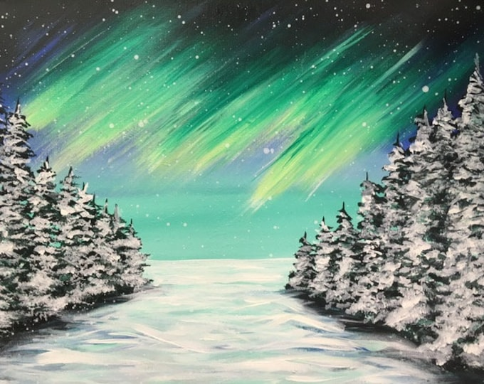 "Northern Lights in Winter, NW Montana, snow, trees original acrylic painting by RAEME 16""x20"" canvas"