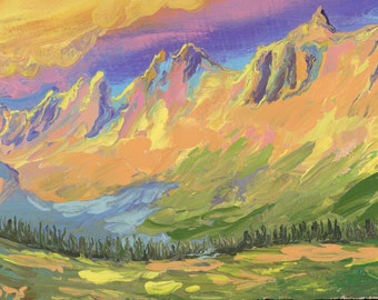 "Garden Wall from Logan Pass (4) - palette knife oil painting on 4""x6"", 3/4"" thick canvas Glacier National Park"