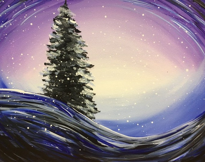 "Snow Globe, pine tree, abstract, snow drifts black original acrylic painting by RAEME 16""x20"" canvas"