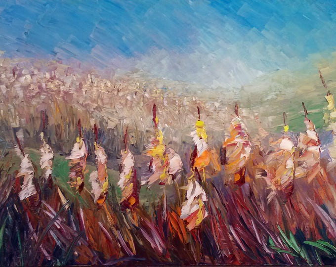 "Cattails original oil painting 16""x24"" on canvas by RAETTE, thick texture, cattails in bloom, impressionistic"