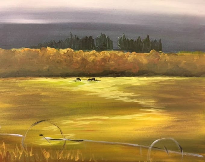 "Fall Treeline and Cows #8/365 ranch, field original landscape 16""x20"" canvas painting by Raette"