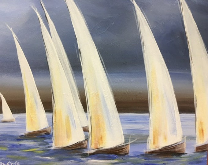 "Sailing Days, boat races, lake, abstract, original acrylic painting by RAEME 16""x20"" canvas"