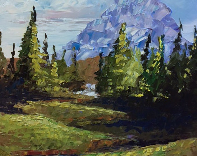 Off Hidden Lake Trail original oil painting on canvas, framed, thick texture Glacier National Park, Montana Artist Raette