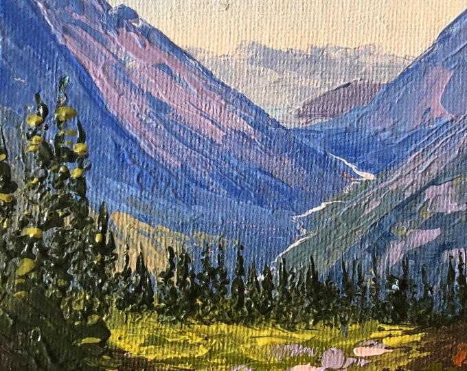 McDonald Creek from the Highline, 4x6 original palette knife oil painting, Montana artist Raette