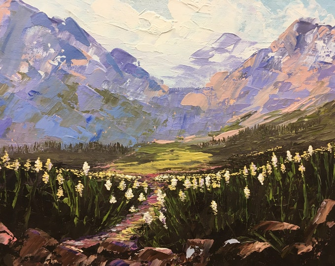 Beargrass on Gunsight Trail original oil painting on canvas, framed, thick texture Glacier National Park, Montana Artist Raette