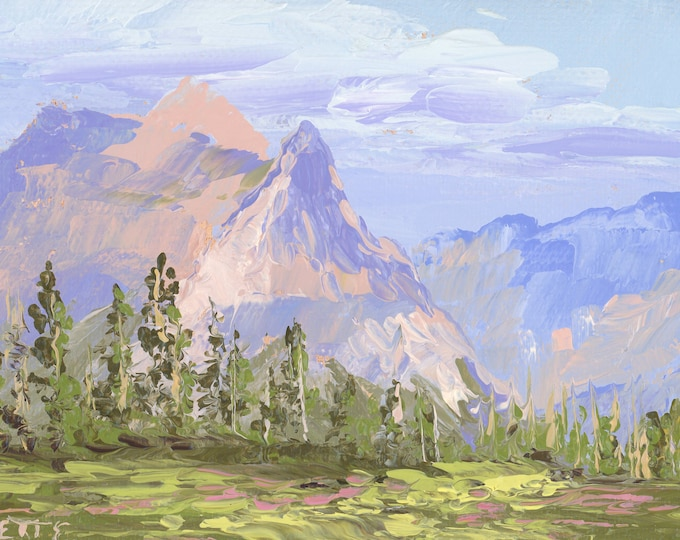 """Logan Pass Wildflowers - palette knife oil painting on 4""""x6"""", 3/4"""" thick canvas Glacier National Park"""