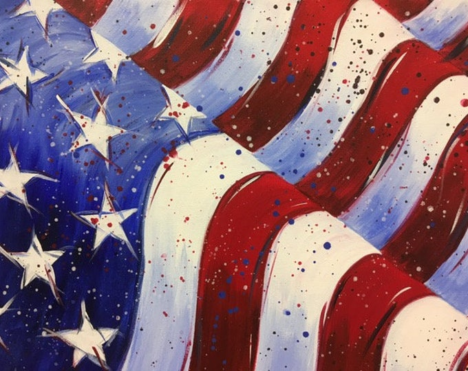 "Grand Ol' Flag, patriotic, stars and stripes, America, original acrylic painting by RAEME 16""x20"" canvas"