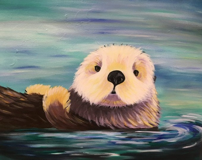 "Otter, sea life, ocean creature, for the love of otters original acrylic painting by RAEME 16""x20"" canvas"