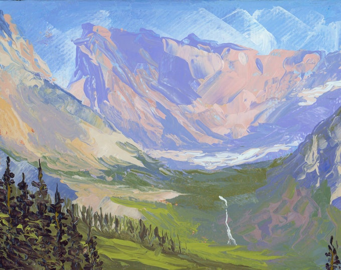 """Logan Pass & Bird Woman Falls (1) - palette knife oil painting on 4""""x6"""", 3/4"""" thick canvas Glacier National Park"""