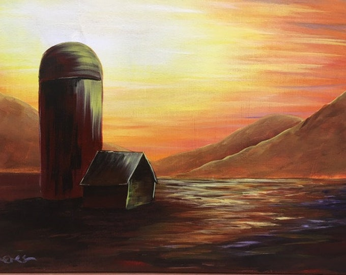 "Silo Sunset, barn, fields, mountains, warm colors, original acrylic painting by RAEME 16""x20"" canvas"