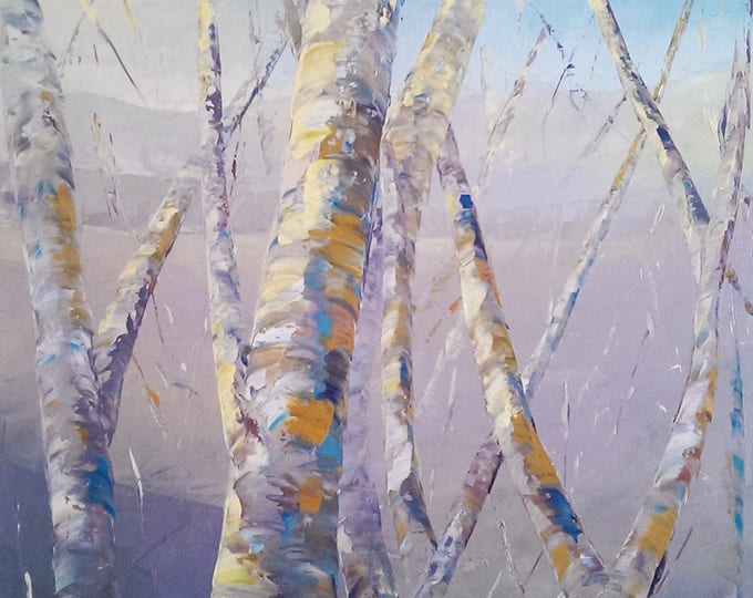 Early Winter Birch original painting by RAETTE trees, blue, gray thick texture oil painting