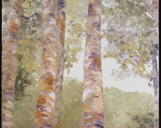 June Birch, tall print on canvas, various sizes available, green, orange, trees