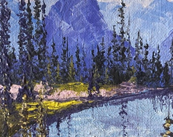 View from Sperry Chalet, Glacier National Park 4x6 original palette knife oil painting, Montana artist Raette