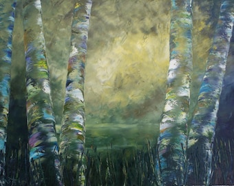 "Midsummer Birch original oil painting 24""x36"" on canvas by RAETTE, trees with thick texture, apen, ethereal, fantasy"