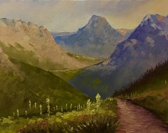 Logan Pass from the Highline original oil painting on canvas, framed, thick texture Glacier National Park, Montana Artist Raette